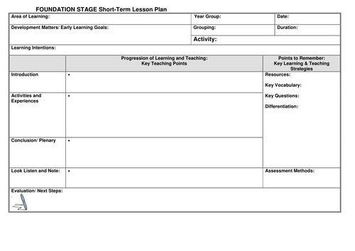 eyfs lesson plan template by  noaddedsugar