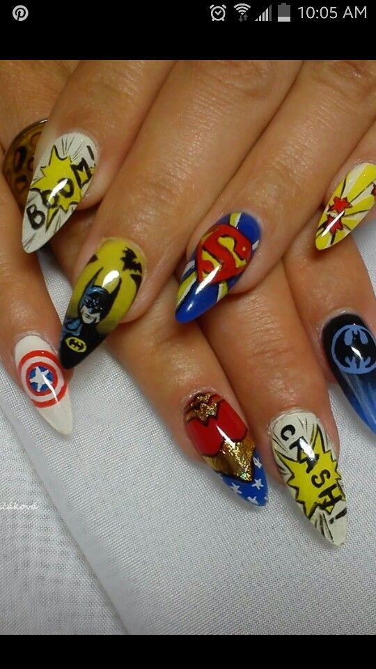 25 beautiful superhero nails ideas on pinterest batman nails i think my boyfriend would like those if only bc hes a batman fan prinsesfo Image collections