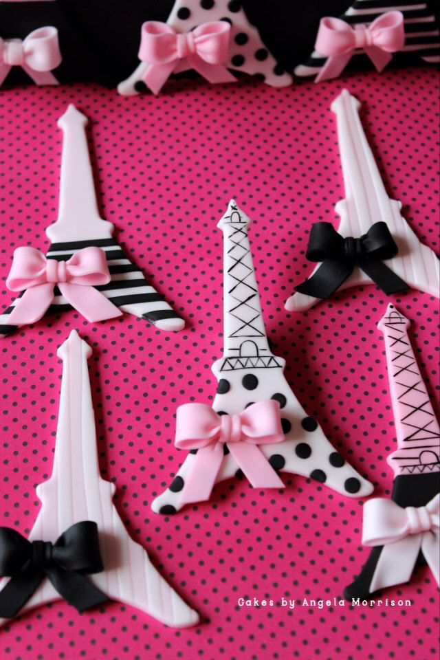 Black, White & Pink Eiffel Tower Cupcake Toppers