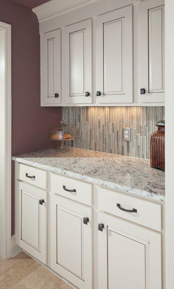 Small Kitchen Ideas White Ice Granite Countertop White Kitchen Cabinets Tile Backsplash