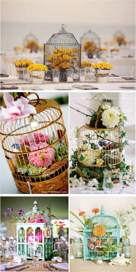 Decoração com gaiolas de passarinhos