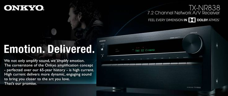 'But even without the overhead speakers this receiver strikes what seems like the perfect balance between functionality, quality and value The powerful amplification makes it possible to drive quite large speakers with relative ease, so it always feels like you have plenty of headroom when you feel like turning up the volume' Onkyo TX-NR838 Reviewed by #T3Mag Rated 5-Star Read full review here :http://www.t3.com/reviews/onkyo-tx-nr838-review#review