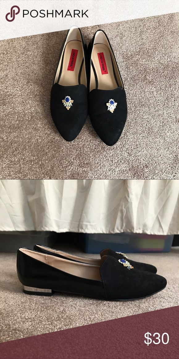 ASOS black suede loafers with silver heels Casual with a touch of classy! I've worn these once or twice and unfortunately they don't fit me as well as I wanted. I usually wear a size 7 so I would recommend if your shoe size is normally 7.5 ASOS Shoes Flats & Loafers