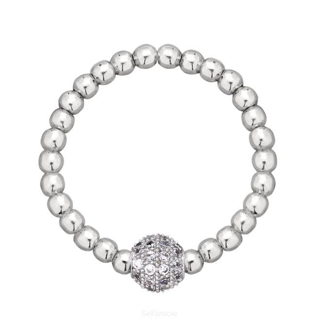 Pierścionek elastyczny / cyrkoniowe oczko / srebro - Selfie Jewellery - Sklep Internetowy