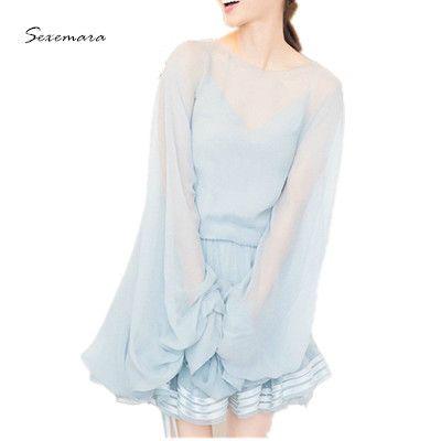 100% натуральный шелк dress 2017 весна лето dress фонарь рукав пляж мода синий цвет высокое качество