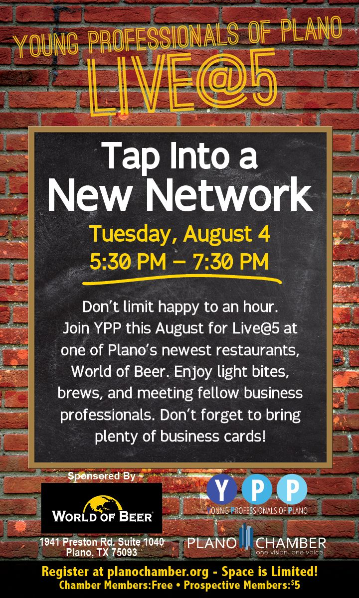 Young Professionals of Plano (YPP) Live @ 5 - Aug 4, 2015 - Plano Chamber of Commerce