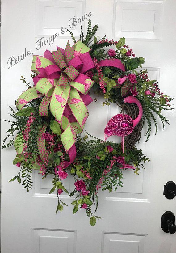Summer Floral Welcome Wreath Grapevine Flamingo Decor, Front Door Wreath Flamingo Wreath Grapevine Wreath
