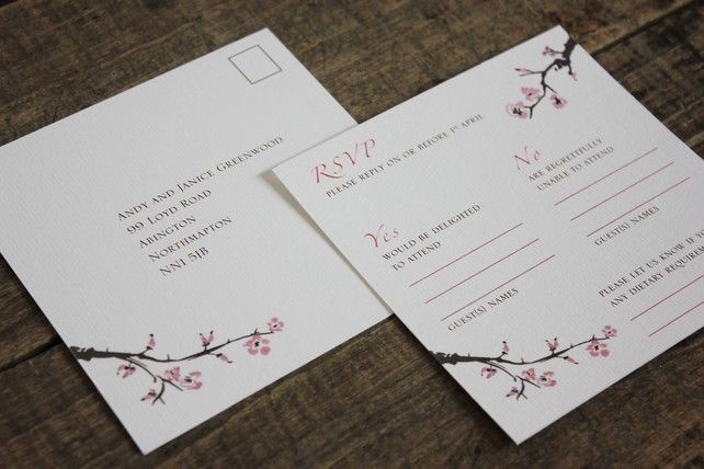 Cherry Blossom Wedding Reply Card - Pink £1.80