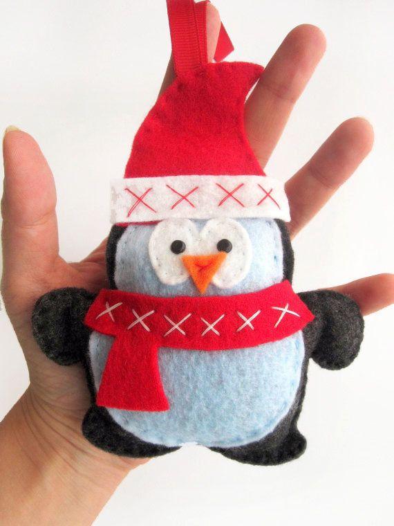 Christmas Ornament, Penguin Christmas Ornament, Felt Penguin Christmas Ornament A217. $14.00, via Etsy.