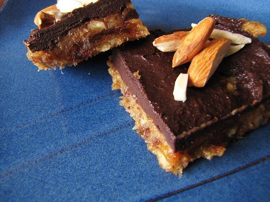 No-Bake Banana Chocolate Almond Squares: Check out this recipe for nutritiously sweet no-bake bars. Made with dates, banana, honey, and raw cacao, each one-inch square has 149 calories, 9.4 grams of fat, and 10.9 grams of sugar.