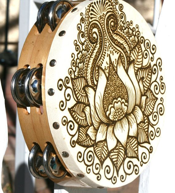 Lotus Henna Tambourine by RedwoodHenna on Etsy