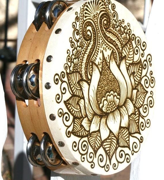 Lotus Henna Tambourine by RedwoodHenna on Etsy