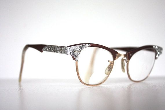 Vintage 1950s copper cat eye browline eyeglass frames with rhinestone detailing! Beautifully detailing that catches the light wonderfully! In good