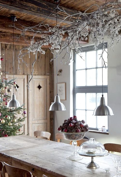 icy branches from a ceiling for winter decorating