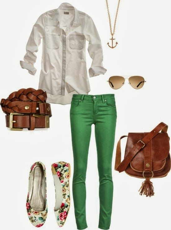 White dress shirt, Green skinny jeans, leather belt, leather purse, floral flats, so cute