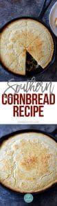 Southern Cornbread Recipe - Cornbread makes a classic Southern side dish. Southern cornbread is made with cornmeal, flour, buttermilk, eggs and ready in 30 minutes! // addapinch.com