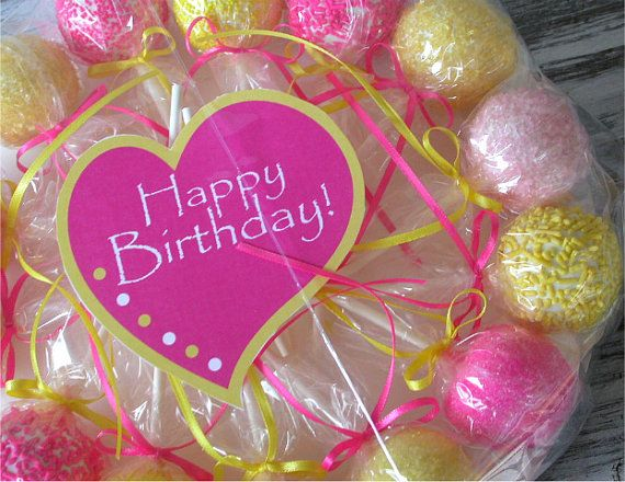Cake Pops  Pink and Yellow Birthday Cake by SimplyDivineDesserts, $26.50