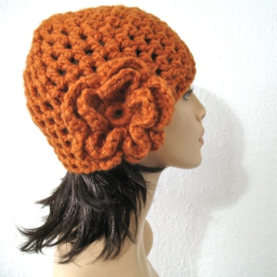 a6f091cdc05 Items similar to DIVA HAT - Timeless Hand Crocheted Romantic Hat with  Ruffled Flower in Pumpkin Orange Original design by kanokwalee.