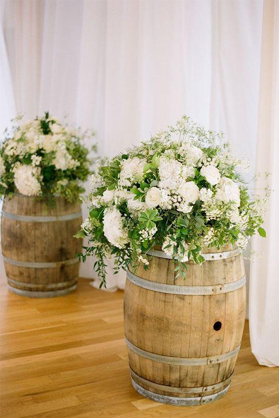 White Whiskey Barrel ~ Diy whiskey barrel wedding ideas