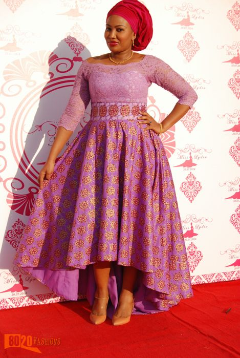 Long sleeved high low Ankara dress