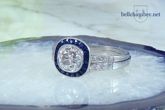 Art Deco Diamond Sapphire ring with matching platinum wedding ring