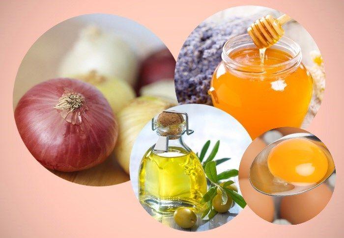 Компоненты маски для волос: лук, яйцо, мед и оливковое масло