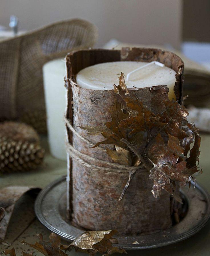 Thanksgiving Birch Bark Candle DIY