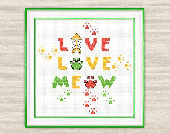 Buy 2 get 1 free Meow Cross Stitch Pattern PDF cat paws funny