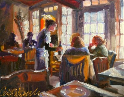 CAFE RUSTICA, painting by artist CECILIA ROSSLEE