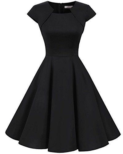 1cd3541042dd Klassisch 1950er Vintage Rockabilly Cocktail Party Kleid, sauber  verarbeitet, hoher Tragekomfort Knielang,kurzärmelig