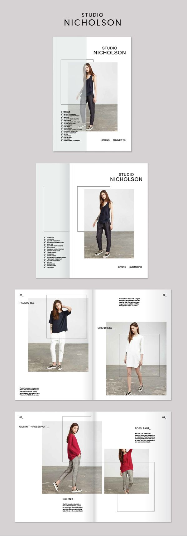 Studio Nicholson Lookbook by Rebecca Moores, via Behance