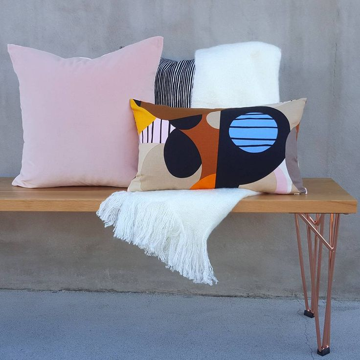 Cushion combo of the week! Beautiful blush velvet & geometric shapes make for a modern take on retro design. Perfect for any home, we have one of the largest collection of cushions, many made here in our NZ workroom! Featuring the Britta @marimekkoaustralia fabric custom made for an order. Snuggle up in a cosy throw this winter 💙Head online to see our range...