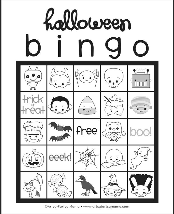 Free printable: Halloween BINGO coloring page. So cute!