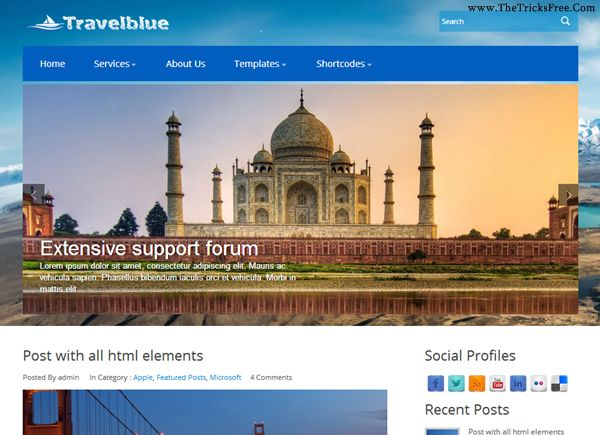 TravelBlue 2013 Free Wordpress Template - Thetricksfree