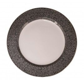 UNDERPLATE GRANITE 32CM Underplate, porcelain, Granite design, by Spode England, 32cm.  Decorated with a rich grey granite border and a fine rim in 3 colors: black, gold and platinum. Can also be used as platter.