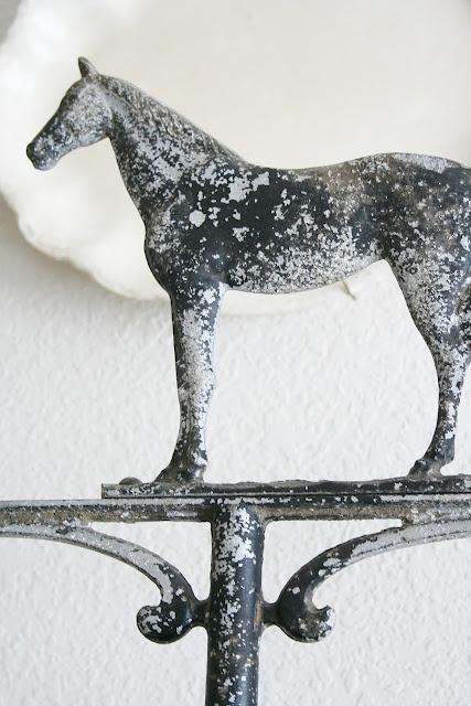 ironstone platter with beautiful horse weathervane