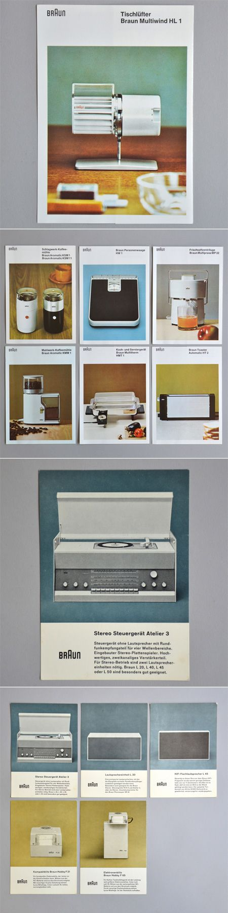 Anything Braun has a wonderful design to it, these are very vintage / Braun Brochures