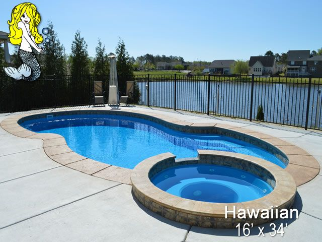 Tallman Pools 16 X 34 Hawaiian Fiberglass Pool Swimming Pool Pool With Built In Spill Over Spa Spa Seating Fiberglass Swimming Pools Pool Fiberglass Pools