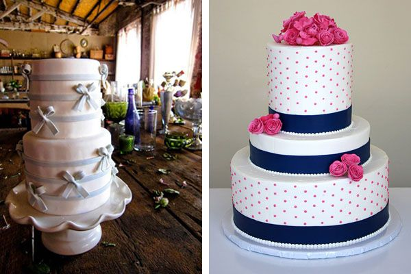 preppy wedding cakes with ribbon.
