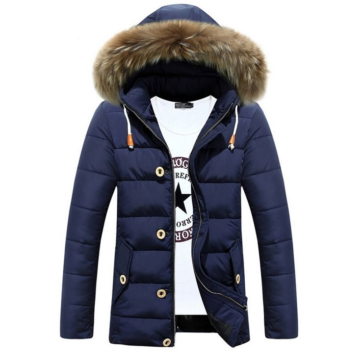 42.80$  Watch here - http://ali1up.worldwells.pw/go.php?t=32707150243 - Winter Jacket Men Cotton Hooded fur collar Warm Jackets Mens Casual Thick Overcoat Down Coat Plus size XXL Parka