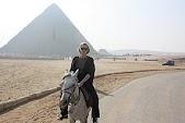 Karen riding among the pyramids at Giza