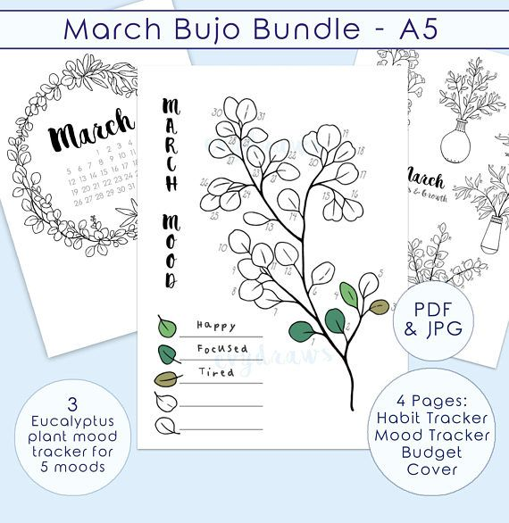 A Bullet Journal Printable Kit For March A Monthly Planner Pages Set Inspired By Euc Bullet Journal Printables Bullet Journal Mood Bullet Journal Inspiration