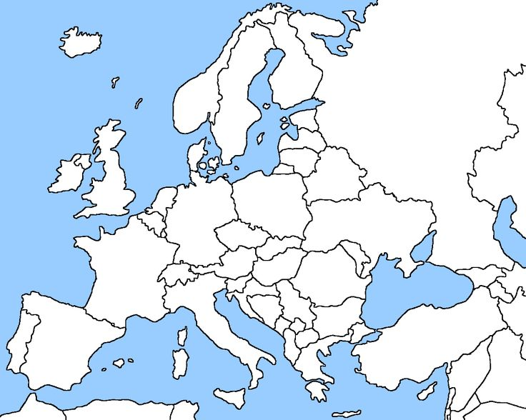 Blank map of Europe including black & white and coloring page