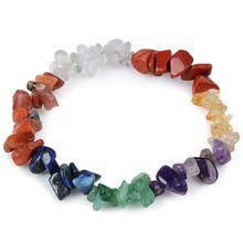 7 Chakra Healing Natural Elastic Bracelet Charm Agate Chip Beads Amethyst Crystal Bracelet Bohemian Boho Women