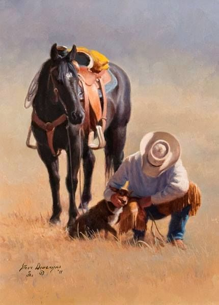 Western Art...Cowboy and his dog.  Steve Devenyns                                                                                                                                                     More