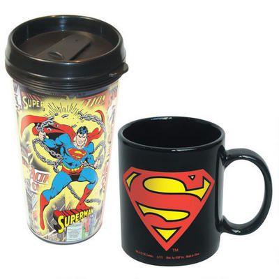 Superman Ceramic Mug and  Travel Mug Two Pack Set |