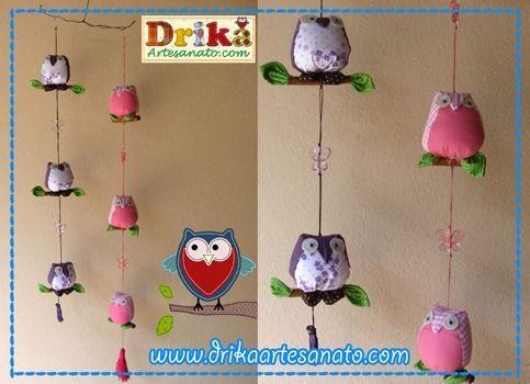 Passo a passo como fazer móbile de corujinhas - Drika Artesanato