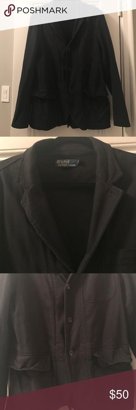 Polo Ralph Lauren black distressed cotton blazer Polo Ralph Lauren black distressed cotton blazer. 3 pockets. Single vent Polo by Ralph Lauren Suits & Blazers Sport Coats & Blazers