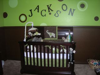 Green and Brown Baby Elephant Nursery