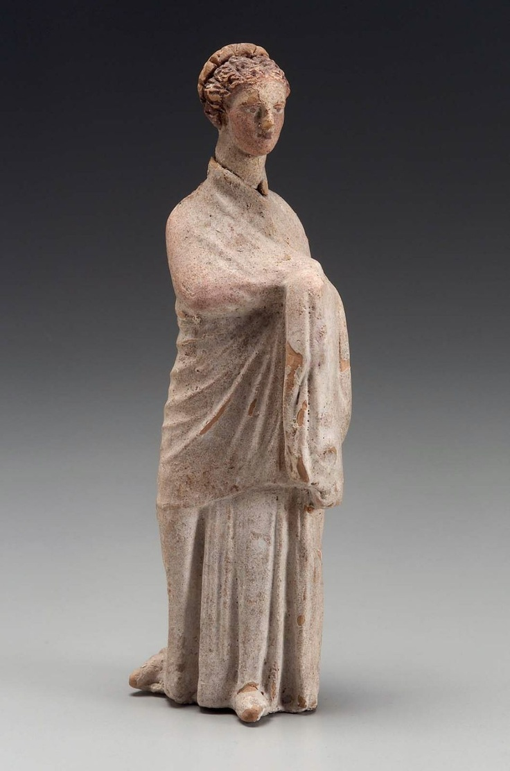 Girl standing  Greek, Hellenistic Period, about early 3rd century B.C.  PLACE OF MANUFACTURE  Tanagra (?), Boiotia,